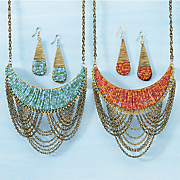beaded bib necklace and earrings set