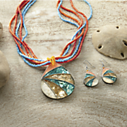 shell mosaic turquoise orange necklace and earring set