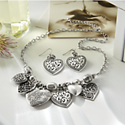 heart charm necklace and earring set