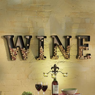 4 piece wine cork holder metal letter set from seventh avenue 731863