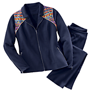 embroidered moto knit jacket pant set