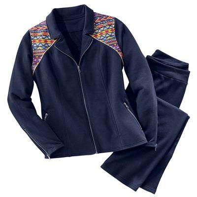 Embroidered Moto Knit Jacket/Pant Set