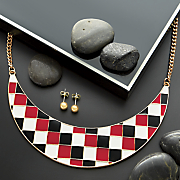 red black white necklace and earrings set