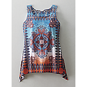 sublimation print embroidered back tunic