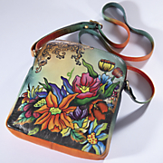 hand painted adoring flowers bag