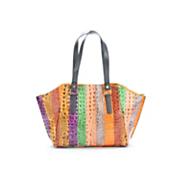 Multi Stripe Croco Bag by Sondra Robert