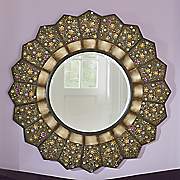 jewel embellished round wall mirror