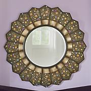 jewel embellished round wall mirror