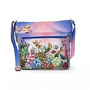 hand painted spring glory leather bag