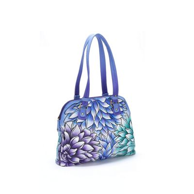 Hand-Painted Leather Dahlias Bag