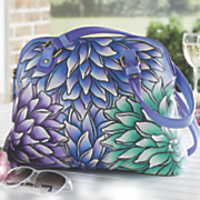 hand painted leather dahlias bag