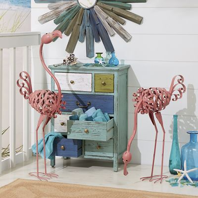 Curly and Moe Metal Flamingos
