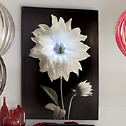 Lighted Black and White Flower Wall Art