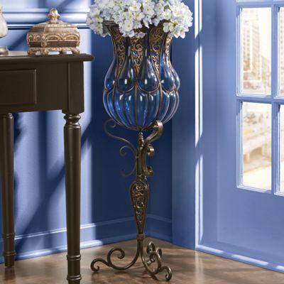 Corona Captured Glass Vase with Stand