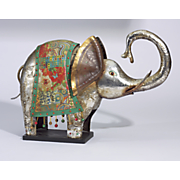 etched metal elephant statue