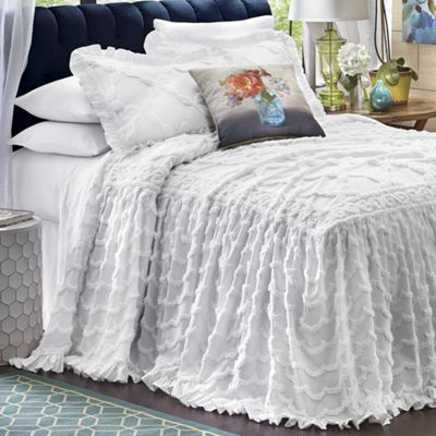 angelica ruffle chenille bedspread and sham - Chenille Bedspreads