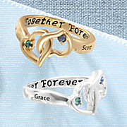 couple s name birthstone heart ring