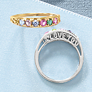 I Love You/Family Birthstone Ring