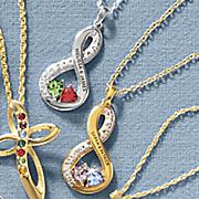 couple s name birthstone infinity pendant
