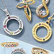name circle birthstone pendant