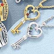 key birthstone necklace