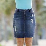 slim distressed girlfriend denim skirt