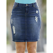 slim distressed girlfriend denim skirt