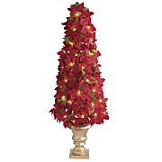 lighted poinsettia tree