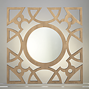 wood square cutout mirror