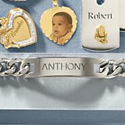 stainless steel men s name id bracelet
