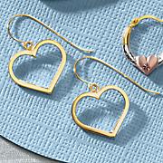 10K Gold Open Heart Earrings