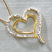 diamond double heart pendant
