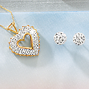 crystal heart pendant and ball earrings set