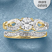 white topaz solitaire open sides bridal set