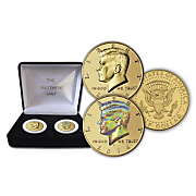 2 pc  kennedy half dollar set  gold plated and hologram