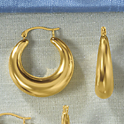 14K Gold Nano Tapered Round Hoop Earrings