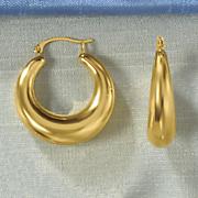 14k gold nano tapered round hoop earrings