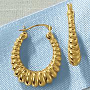 14K Gold Nano Tapered Oval Hoop Earrings