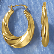 14k gold nano twist oval hoop earrings