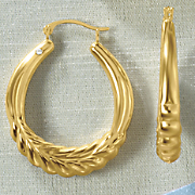 14K Gold Nano Braid Oval Hoop Earrings