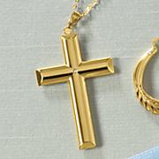 14k gold nano cross pendant