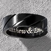 black titanium name message ring