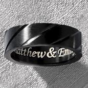 black titanium name message ring
