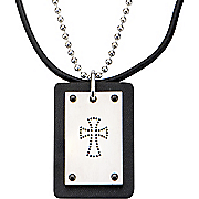 stainless steel dotted cross black leather pendant