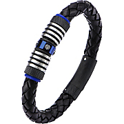 Stainless Steel Black and Blue Braided Leather Bracelet