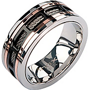 Stainless Steel Black and Bronzetone Cable Ring