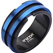 Stainless Steel Men's Black/Blue Layer Ring