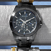 Men's Black Bracelet Watch by Bulova
