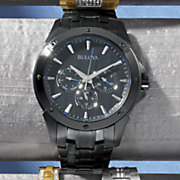 men s black bracelet watch by bulova