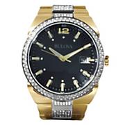 men s goldtone crystal bracelet watch by bulova